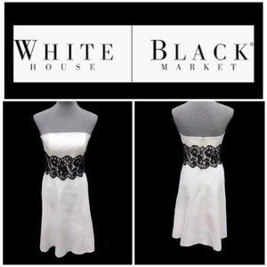 White House Black Market White Strapless Dress 6